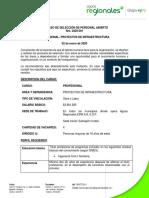 CONVOCATORIA 2020-001 PROFESIONAL PROYECTOS SUBREGION URABA-AMPLIACIÓN