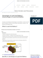 Advantages of Lead Acid Battery,disadvantages of Lead Acid Battery