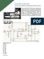 Amplificador de potencia OCL de 50 vatios