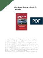 Manual de intretinere si reparatii auto in limba romana gratis