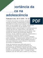 O PODER DA MUSICA NA ADOLESCENCIA