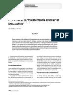 EL  SENTIDO DE LA PSICOLOGIA GENERAL DE KARL JASPERS