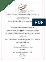 CARACTERIZACIÓN DE LA RENTABILIDAD Y  COMPETITIVIDAD DE LAS MICRO Y PEQUEÑAS EMPRESAS  DEL RUBRO DE FERRETERIAS DE LA AV. GRAU SECTOR OESTE  - PIURA