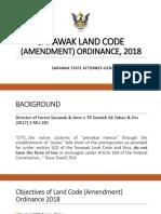LAND CODE (AMENDMENT) ORDINANCE, 2018 AND LAND (NATIVE COMMUNAL TITLE) RULES, 2019