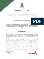 Proyecto de decreto alza de tarifas Sitp