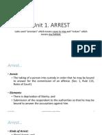 CDI-1, Chapter 2-Unit 1 ARREST