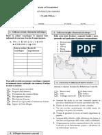 TEST D'INGRESSO CLASSE PRIMA STORIA E GEOGRAFIA