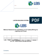 Method Statement for LV Cables,Wiring for Lighting and Power Installation