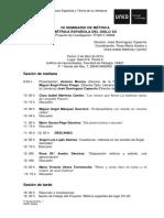 Programa VIII Seminario de métrica