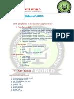 ADCA Syllabus of BCIT WORLD