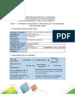 Guía de actividades y rúbrica de evaluación - Paso 1 -  Construir un documento colaborativo de reconocimiento y del concepto salud