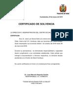 CERTIFICADO DE SOLVENCIA