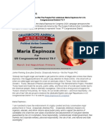 Grassroots America We the People PAC Endorses Maria Espinoza for Congress