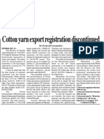 Cotton Yarn export registration discontinued