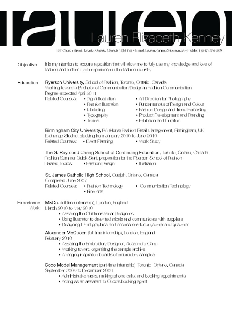 ryerson resume appointment