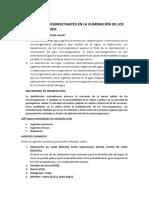 APLICACIÓN DE DESINFECTANTES EN LA ELIMINACIÓN DE LOS MICROORGANISMOS