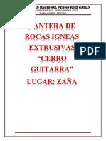 """CANTERA DE ROCAS ÍGNEAS EXTRUSIVAS """"CERRO GUITARRA"""""""
