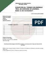 PLANILLA DE INSCRIPCIÓN AL TORNEO RELÁMPAGO DE BÁSQUETBOL DE KERIGMA DE JÓVENES.