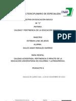 MAPA MENTAL CALIDAD ACREDITADA, PERTINENCIA E IMPACTO DE LA EDUCACIÓN UNIVERSITARIA EN COLOMBIA Y LATINOAMERICA