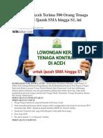 Pemerintah Aceh Terima 500 Orang Tenaga Kontrak dari Ijazah SMA hingga S1
