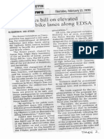 Manila Bulletin, Feb. 13, 2020, House okays bill on elevated walkways, bike lanes along EDSA.pdf