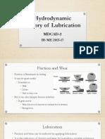 Hydrodynamic Theory of Lubrication