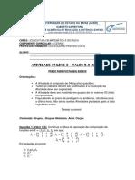 ATIVIDADE ONLINE 2 - ÁLGEBRA I -2019.1 - GABARITO