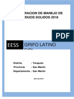 DECLARACION DE MANEJO DE RESIDUOS SOLIDOS 2018 GRIFO LATINO