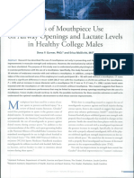 Effects of mouthpiece use on airway openings and lactate levels