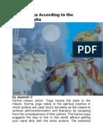 Karma Yoga According to the Bhagavadgita