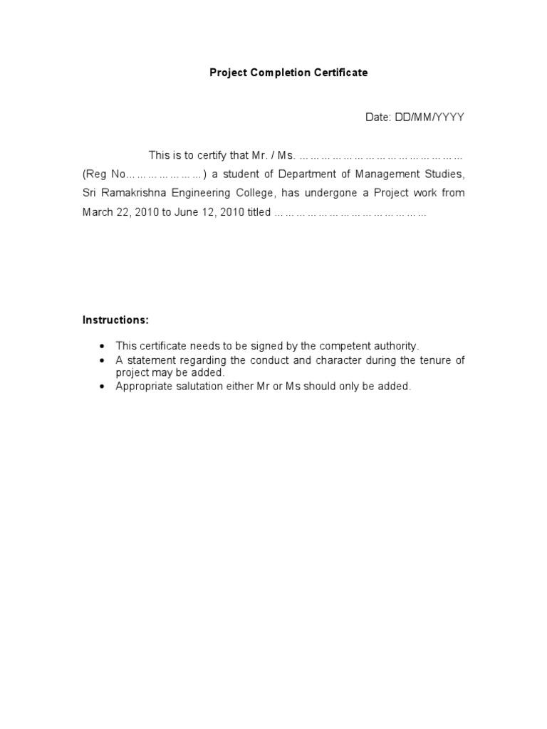 Project completion certificate format altavistaventures Gallery