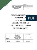 """PROCEDIMIENTO PARA REALIZAR LA MATRICULA A VINCULACIÓN DE LA """"UNIVERSIDAD NACIONAL DE CHIMBORAZO"""""""