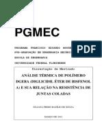 ANÁLISE TÉRMICA DE POLÍMERO DGEBA (DIGLICIDIL