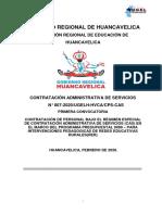 CONVOCATORIA CAS N°007-2020/UGEL-HVCA//CPS-CAS