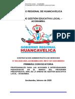 CONVOCATORIA CAS N°005-2020/UGEL-ACOBAMBA/CEE-CAS
