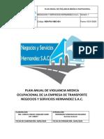 PLAN DE VIGILANCIA MEDICA OCUPACIONAL NSH SAC