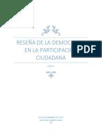 RESEÑA DE LA DEMOCRACIA EN LA PARTICIPACION CIUDADANA
