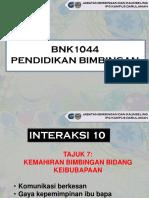 INTERAKSI 10 - KEMAHIRAN BIMBINGAN BIDANG KEIBUBAPAAN