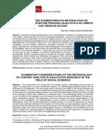 CONSIDERAÇÕES ELEMENTARES DA METODOLOGIA DE ANÁLISE DE CONTEÚDO EM PESQUISA QUALITATIVA NO ÂMBITO DAS CIÊNCIAS SOCIAIS