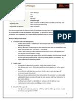 1.1 Job Description - Sales Manager