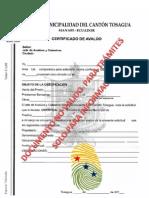 Certificado de avaluó
