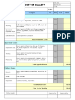 Cost of Quality sheet
