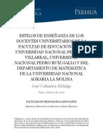 Estilos de enseñanza de los docentes universitarios de la facultad de educación de la universidad nacional federico.pdf