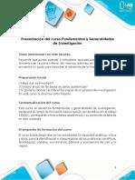 Presentación del curso Fundamentos y Generalidades de Investigación