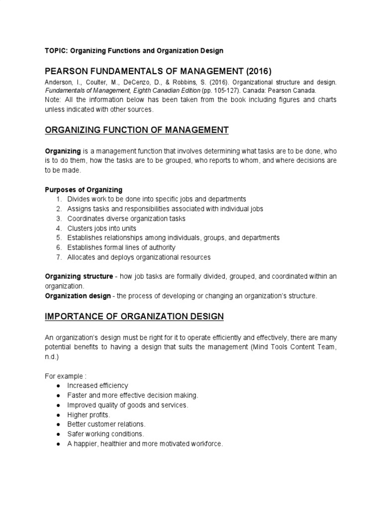 Organizing Functions And Organization Design Organizational Structure Division Of Labour