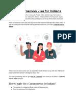 Get Cameroon Visa for Indians
