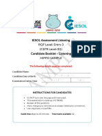 GA Classic IESOL E3 (B1) Candidate Booklet Listening HIPPO Sample