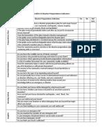 Checklist of Disaster Preparedness Indicators
