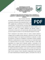 reseña variables familiares relacionadas con el desarrollo cognitivo y comunicativo