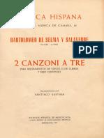 Bartolomeo de Selma - 2 Canzoni a Tre - Música Hispana - CSIC - 1971
